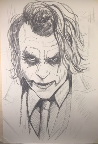 draw a Joker Pencil Sketch