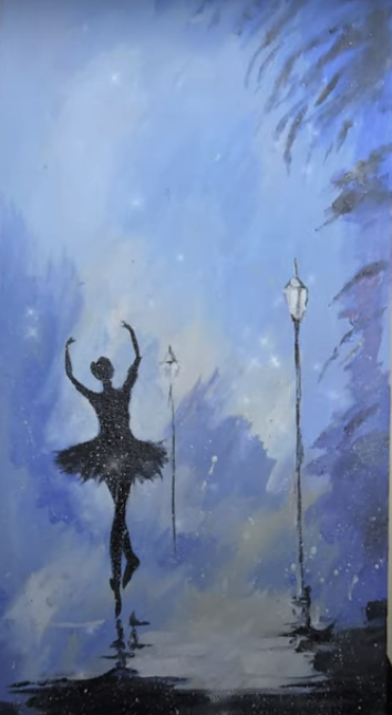 draw a dancing girl painting on a canvas
