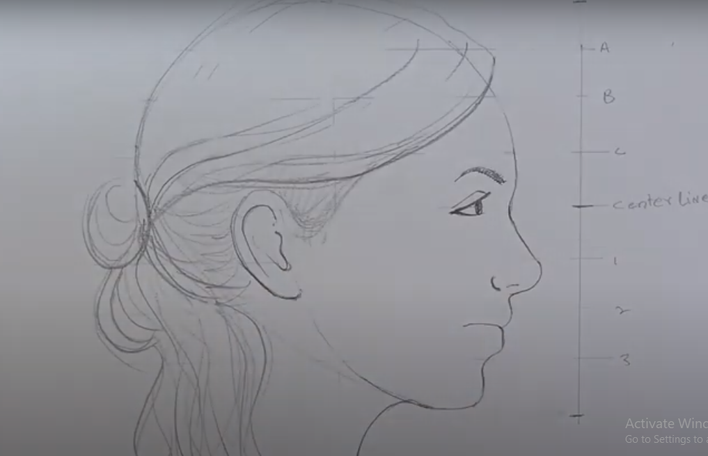 draw a Side Face of Girl
