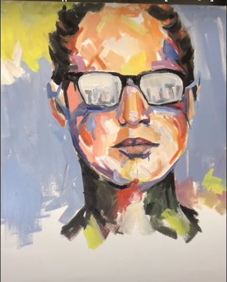 Draw a Girl Painting on a Canvas