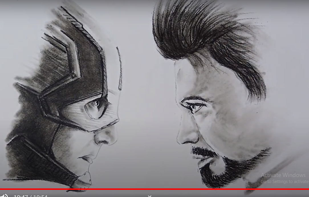 Draw Captain America VS. Iron Man